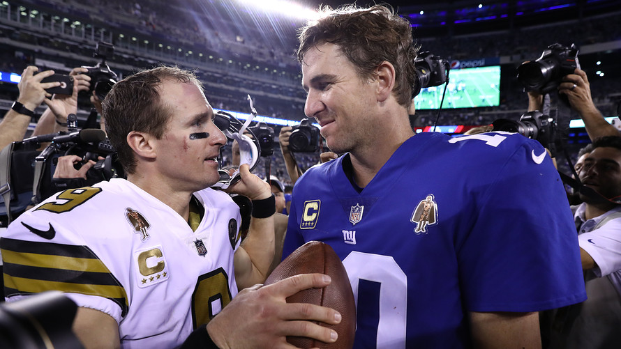 New York Giants QB Eli Manning (right) announced he was retiring this year, and other football players may not be far behind.